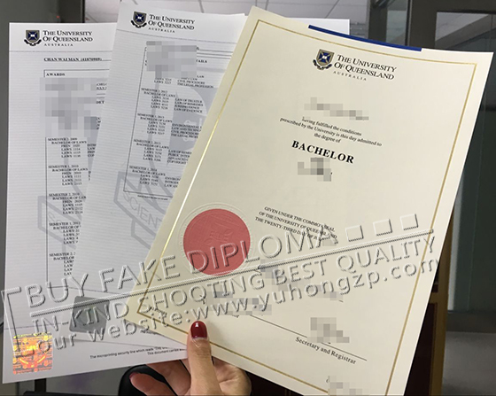 Fake University of Queensland diploma and transcript