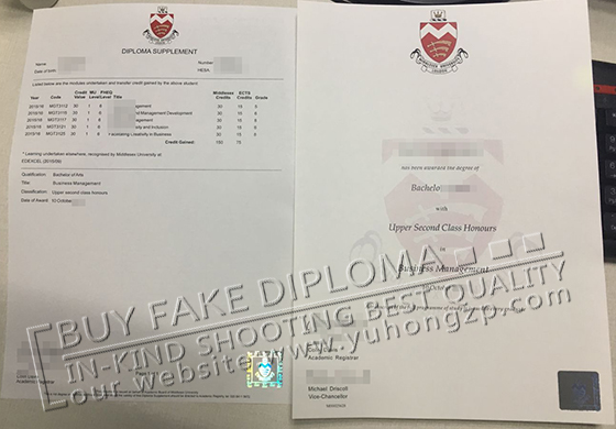 Middlesex University diploma and transcript