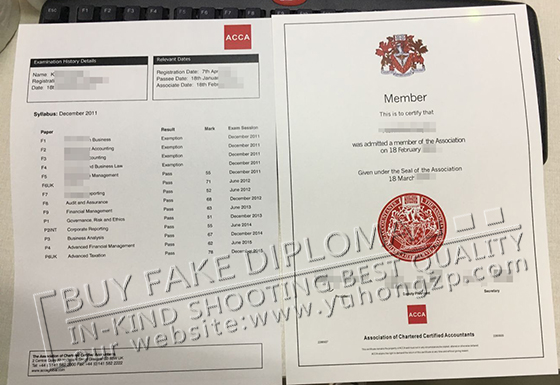 ACCA certificate and transcript