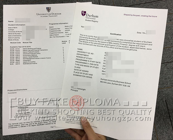 Durham academic transcript and certification