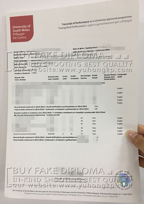 South Wales academic transcript fake