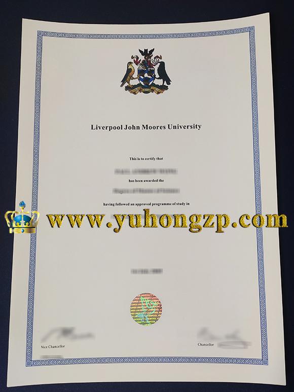 Liverpool John Moores University certificate