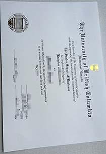 The University of British Columbia certificate, buy UBC certificate