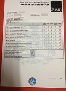 Liverpool John Moores University ttranscript, fake JMU diploma andtranscript online