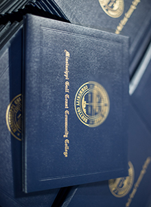 How Can I Buy Fake Mississipi Gulf Coast Community College Diploma Cover with Golden Logo?