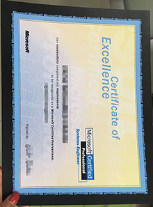 Fake Microsoft certificate, buy fake Microsoft certificate of Excellence