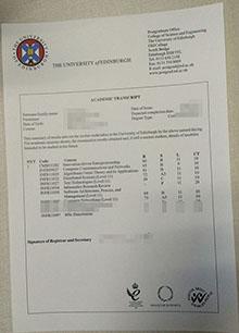 University of Edinburgh academic transcript, buy fake Edinburgh grade sheet