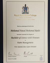 Buy RAU degree, Purchase a fake Royal Agricultural University diploma online
